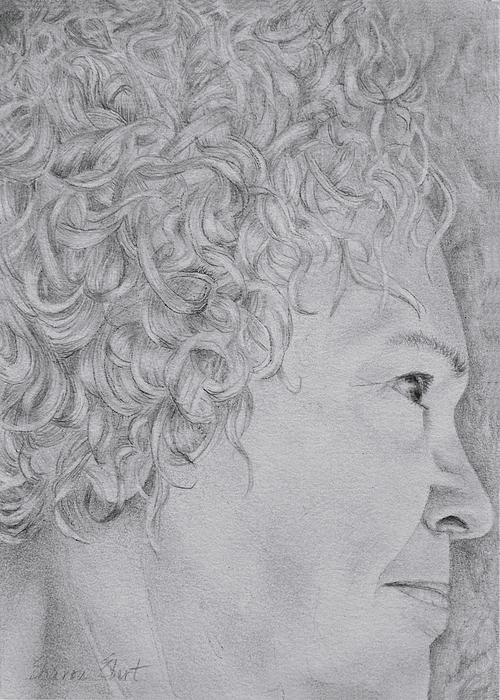 Graphite Drawing - Self Portrait by Sharon Ebert