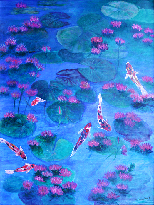 Lily Pads Painting - Serene Pond by Ben Kiger