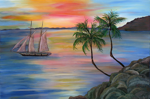 Sunset Painting - Serenity Bay by Mikki Alhart