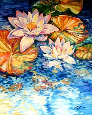 Koi Painting - Serenity By M Baldwin A Water Lily Koi Pond Original by Marcia Baldwin