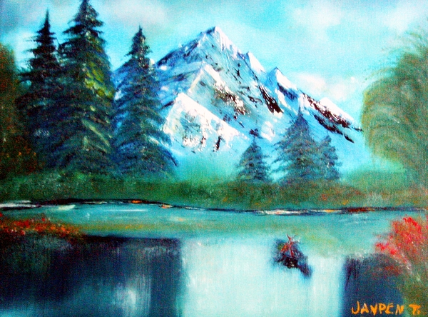 Mountain Painting - Serenity by Janpen Sherwood