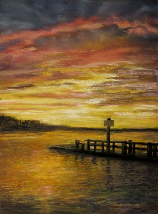 Sunset Painting - Sesuit Harbor At Sunset by Jack Skinner