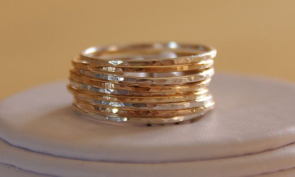 Sterling Silver Stacking Rings Mixed Media - Set Of 9 Handmade Sterling Silver And 14k Gold Fillled Stacking Rings Made To Order by Nadina Giurgiu