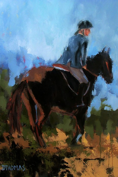 Horse Painting - Setting Up The Jump by Donna Thomas