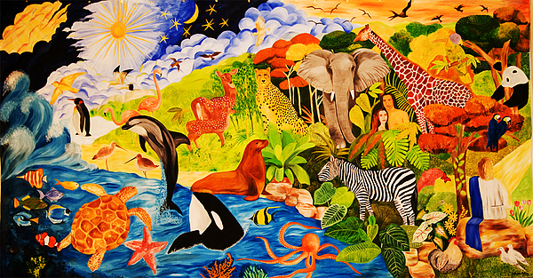 Bible Painting Seven Days Of Creation I By Sushobha Jenner