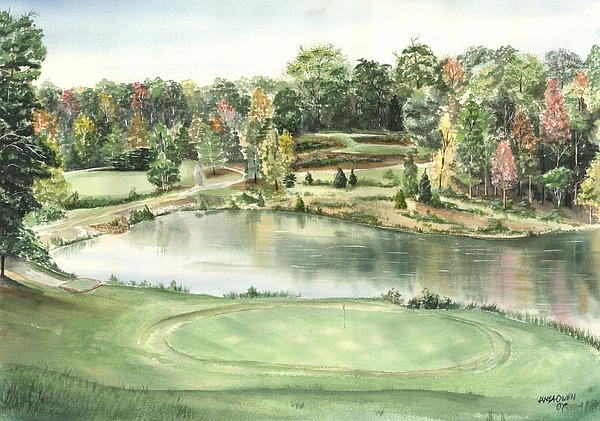 The Trails Painting - Seventeen Green The Trails Golf Course by Lane Owen