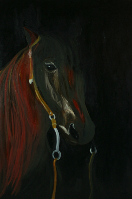 Horse Painting - Shadow by Karen Rester