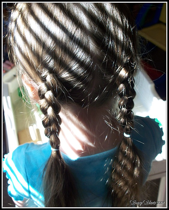 Child Photograph - Shadows And Braids by Emily Kelley