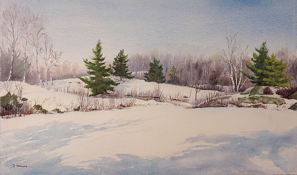 Shadows Painting - Shadows On Snow In The Canadian Shield  by Debbie Homewood