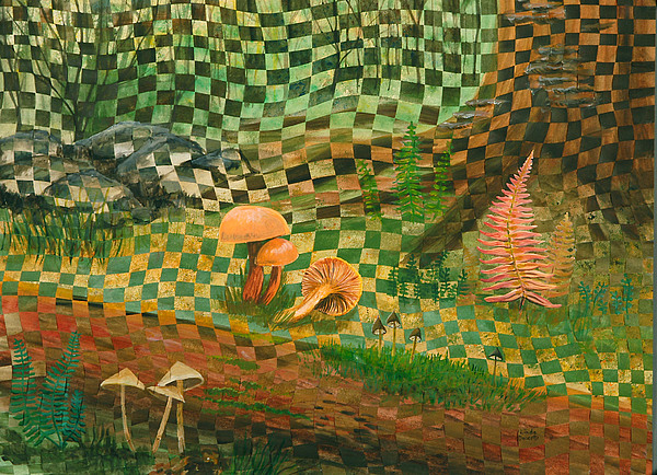 Mushrooms Painting - Shady Grove by Linda L Doucette