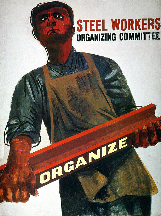 1930s Photograph - Shahn: Steel Union Poster by Granger