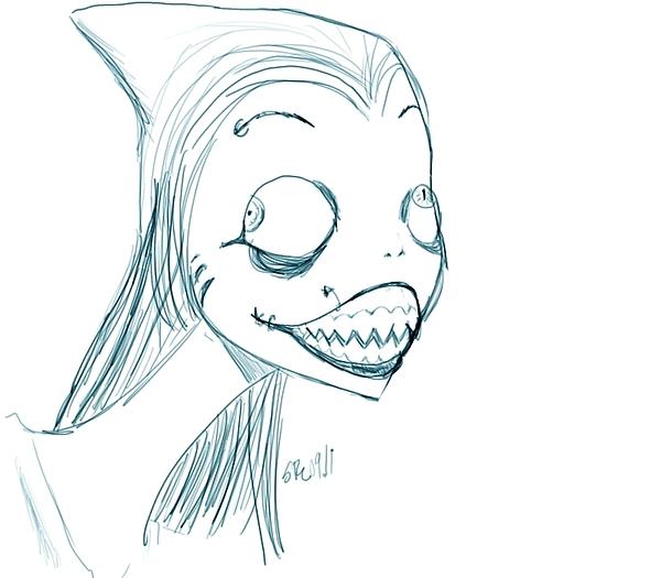 Shark Drawing - Shark Woman by Skinny Rydell