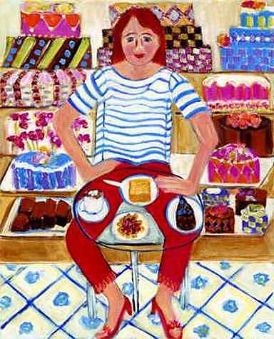 Whimsical Painting - She Just Stopped In For A Coffee by Linda Sharpe