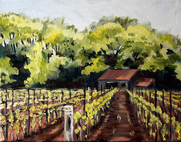 Vineyard Painting - Shed In A Vineyard by Sarah Lynch