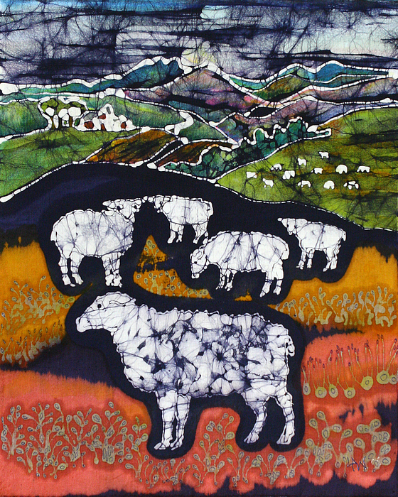 Sheep Tapestry - Textile - Sheep At Midnight by Carol  Law Conklin