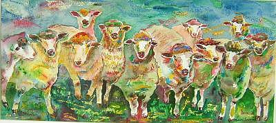 Sheep Flock Painting - Sheep Marketing Board by Naomi Gerrard