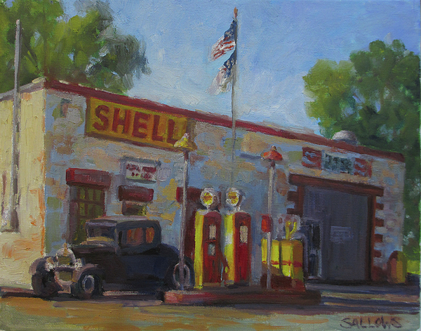 Shell Gas Station Painting - Shell Station Brown County by Nora Sallows
