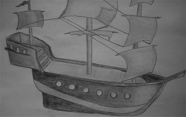 Ship Drawing - Ship Without Sea by Katie Gilbert