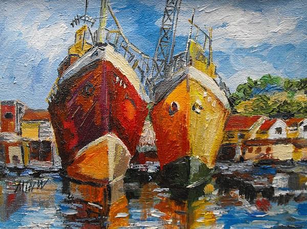 Ships Painting - Ships In Repair by Min Wang