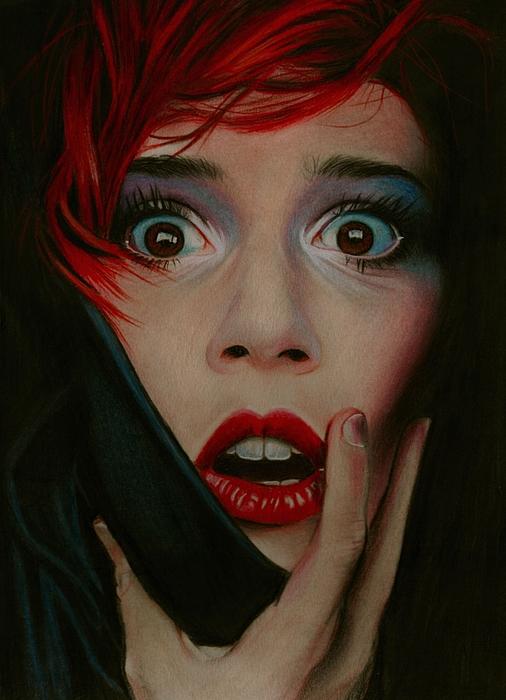 Girl Portrait Drawing - Shock Horror by Brian Scott