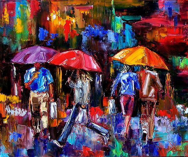 Umbrellas Painting - Shopping Bags by Debra Hurd