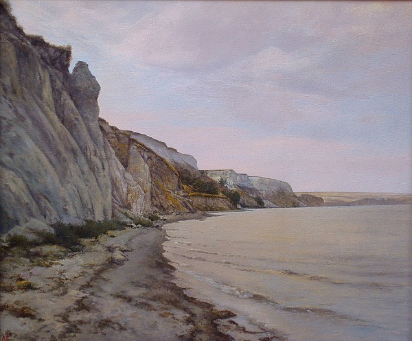 Landscape Painting - Shore Of The Volga by Andrey Soldatenko