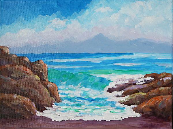 Surf Art Painting - Shorebreak by Bob Phillips