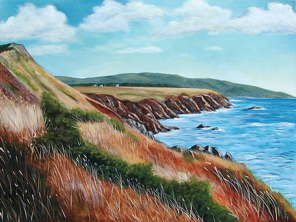 Cliffs Painting - Shores Of Cape Breton by Sharon Steinhaus