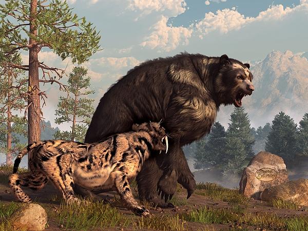 Arctodus Digital Art - Short-faced Bear And Saber-toothed Cat by Daniel Eskridge