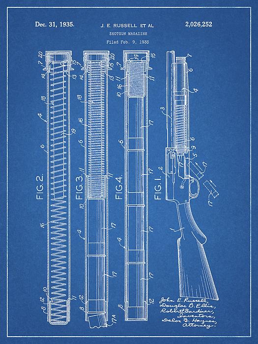 Shotgun magazine blueprint drawing by dan sproul blueprint drawing shotgun magazine blueprint by dan sproul malvernweather Gallery