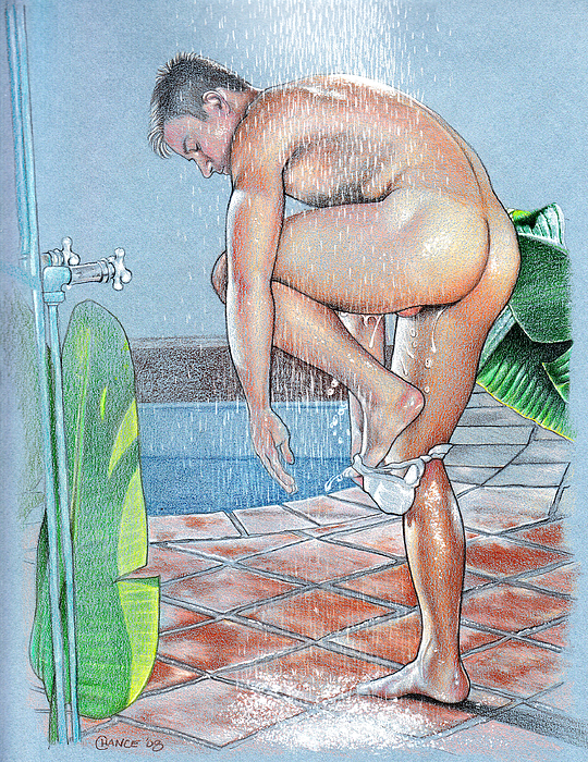 Pool Drawing - Shower by Chance Manart