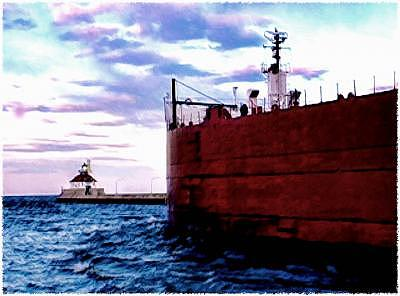 Ship Digital Art - Shp In Duluth by Sue Pierson