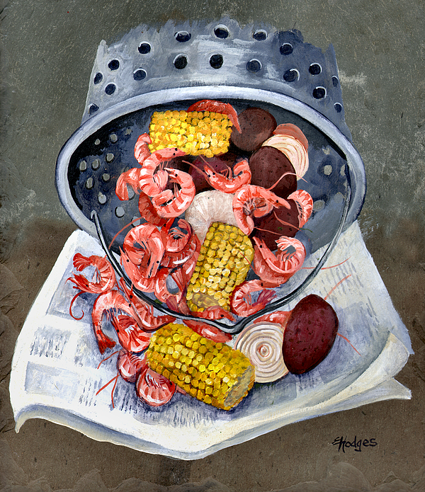 Seafood Painting - Shrimp Boil by Elaine Hodges