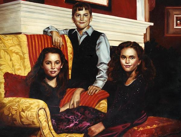 Siblings Fine Oil Portrait Painting by Mark Sanislo