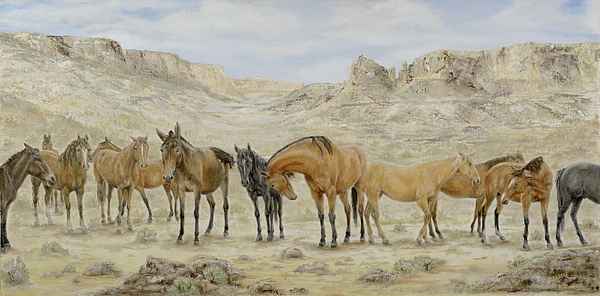 Horse Painting - Siesta At Noon by Cathy Cleveland