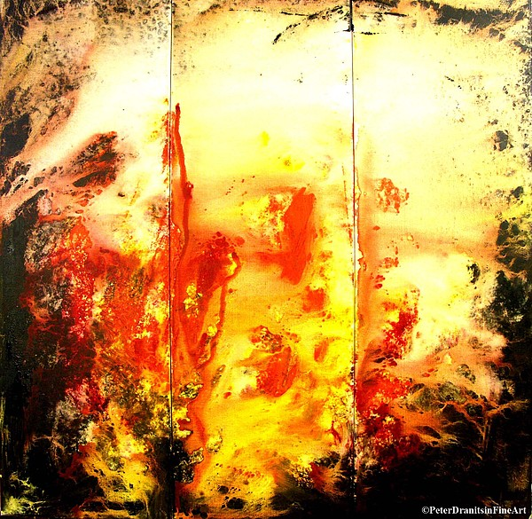 Abstract Painting Painting - Signed By Fire by Peter Dranitsin