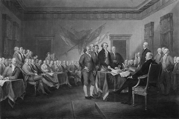 Declaration Of Independence Mixed Media - Signing The Declaration Of Independence by War Is Hell Store