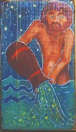 Zodiac Sign Greeting Card - Signs Of Zodiak - Aquarius by Rae Chichilnitsky