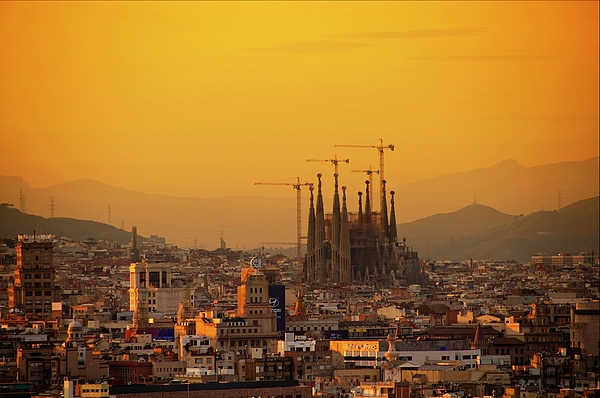 Horizontal Photograph - Silhouettes In Barcelona by Paul Biris