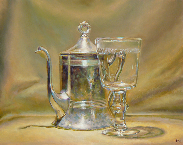 Silver Teapot And Glass Painting by Jeffrey Hayes