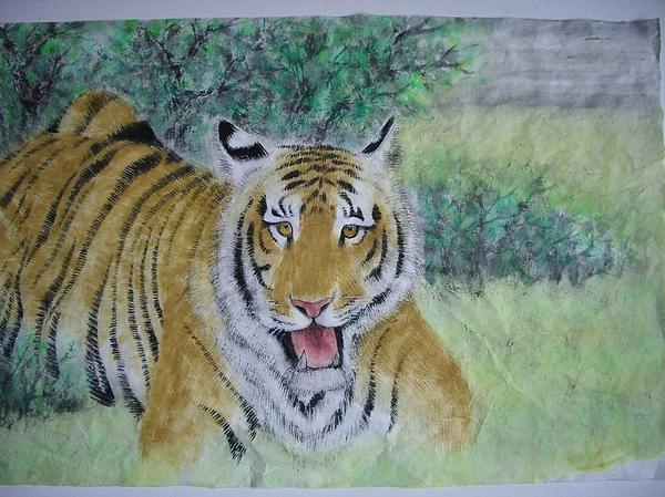 Tiger Painting - Singing In Spring by Jian Hua Li