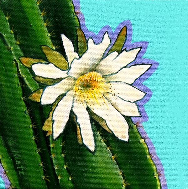 Single white cactus flower painting by lorraine klotz cactus painting single white cactus flower by lorraine klotz mightylinksfo