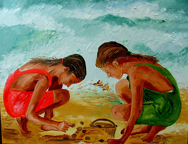 Girls Painting - Sisters On The Beach by Inna Montano