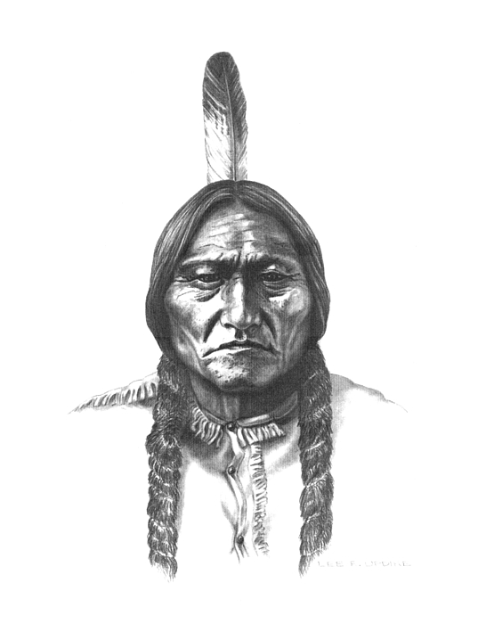 Sitting Bull Drawing - Sitting Bull by Lee Updike
