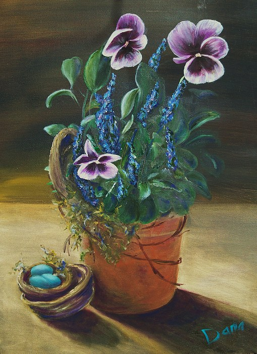 Pansy Painting - Sitting Pretty by Dana Redfern
