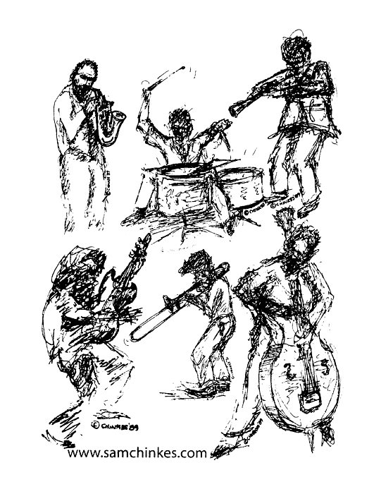 Jazz Musicians Drawing - Six Musicians by Sam Chinkes