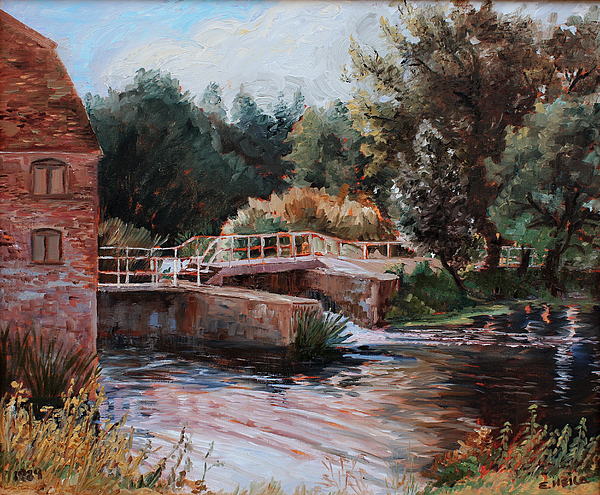 Old Mill Painting - Sixtenth Century Watermill In Sturminster Newton Dorset England by Ethel Vrana