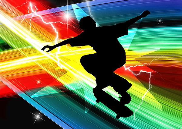 Skateboarder In Criss Cross Lightning Painting by Elaine Plesser