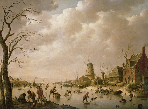 Skaters Painting - Skaters On A Frozen Canal by Hendrik Willem Schweickardt