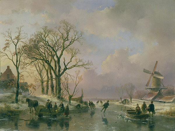 Skating Painting - Skating In Holland by Andreas Schelfhout